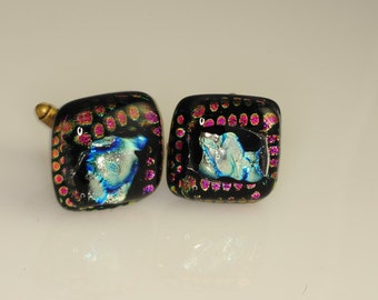 Artist Series Dichroic Glass Cufflinks Stunning Colors OOAK Part of matching Set of His and Hers O-68