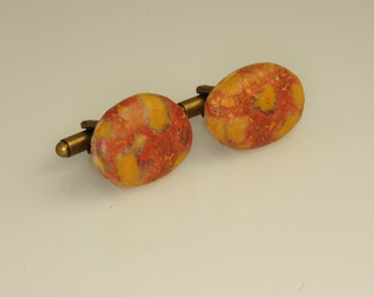Very Rare Morgan Hill Poppy Jasper Cufflinks 19x15mm Stunning OOAK  S-12