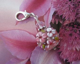 Pink Flower Lampwork & Crystal Zipper Pull, Purse Charm