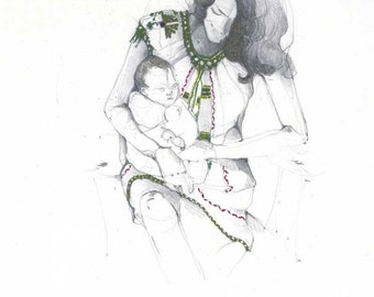 print of original drawing, illustration - mother, child, watercolor accent