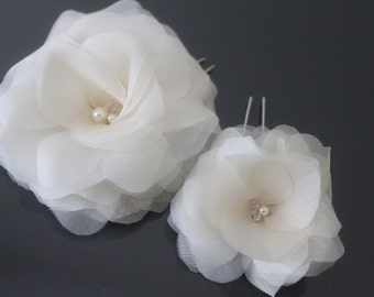 Bridal Hair Flowers, White, Off White, Ivory, Blush Pink, Champagne-Style No.518