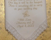 Flower Girl Embroidered Wedding Hankerchiefs Poem on Etsy by Canyon Embroidery
