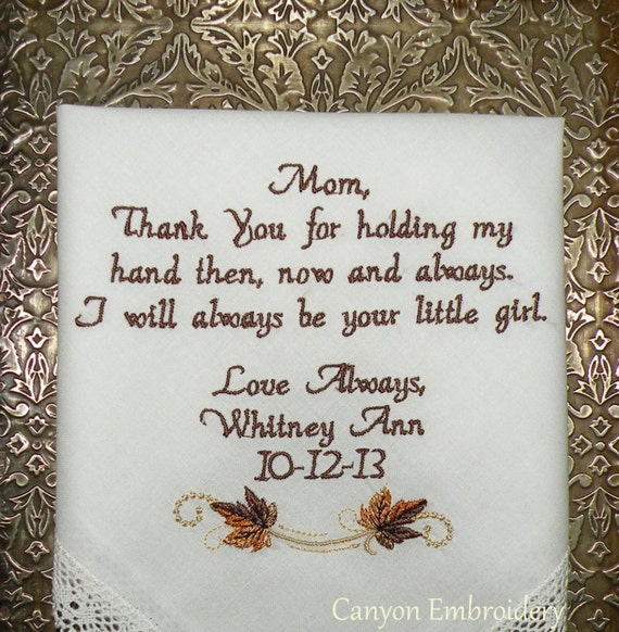 Wedding Gift Ideas Embroidered : Fall Wedding Gift Embroidered Wedding Handkerchief - Etsy by Canyon ...