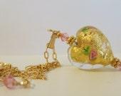 Venetian Glass Gold Heart 14K Gold Fill Necklace