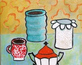 5x7 Painted Pottery No 6- original colorful still life small painting kitchen table