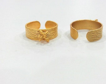 Gold Plated Brass Adjustable Ring Base Blank with a Loop Setting ,Findings G204