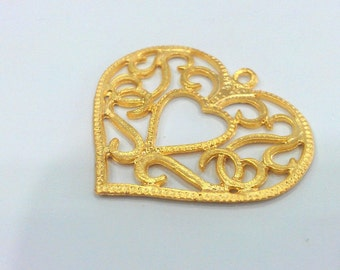 Heart Pendant Gold Plated Metal 43x46 mm  G9816