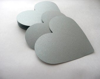 Die Cut Hearts 50 Large Paper Hearts, Gold Silver hearts, Wedding decorations, Love, Bridal, Marriage, Scrapbooking, Party