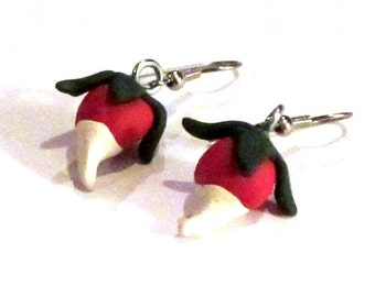 Radish Dangle Earrings - Geekery - Polymer Clay Food  - Handmade - Fall and Autumn - Halloween - Gifts Under 10, 15, 20