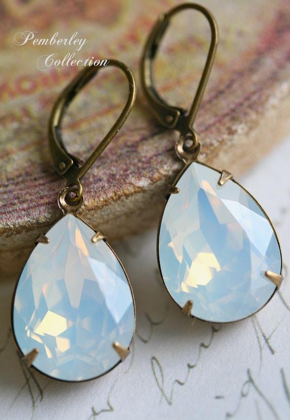 White Opal Swarovski Crystal Earrings, Moonstone, Tear Drop, Estate Style