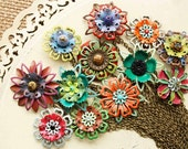 Choose Your Flower Necklace, Vintage Handpainted One of a Kind Assemblage