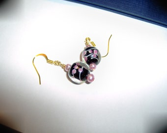 Lampwork Black Floral Earrings by Chubbychick
