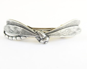 Steampunk Dragonfly Barrette- Sterling Silver Ox Finish