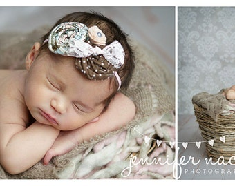 Around We Bow- - pink, blue and brown double rosette with felt flower and lace bow headband