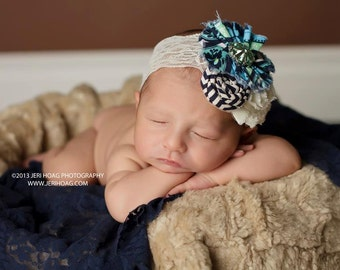 Don't Be Late, Kate- navy, aqua and ivory ruffle, rosette and chiffon flower headband
