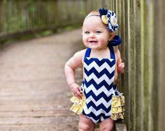 Mustard be the Navy- white and navy blue chevron print and mustard ruffle and rosette headband