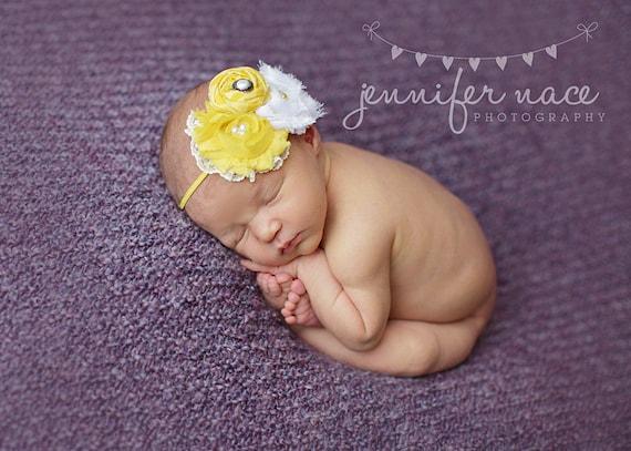 Honey, Honeysuckle- yellow and white chiffon flower and rosette headband
