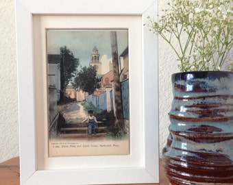 Stone Alley and South Tower, Nantucket, Massachusetts - framed vintage postcard