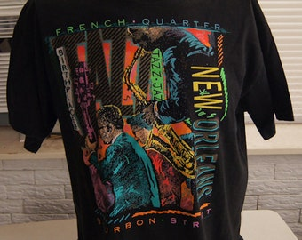 vintage (t shirt) NEW ORLEANS French Quarter Bourbon Street Neon Hanes XL (46 inches around chest)