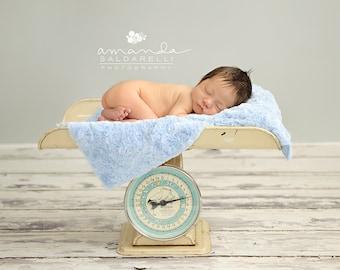 Blue Newborn Baby Boy Short Pile Faux Fur Blanket, Great for photo prop