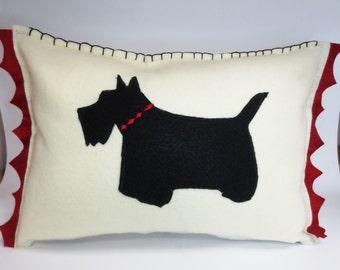 Ivory Felt Scottie Silhouette Pillow Cushion - Eco Friendly Felt made with Plastic Bottles