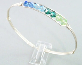 Two Tone Swarovksi Crystal Sterling Silver Wire Bangle