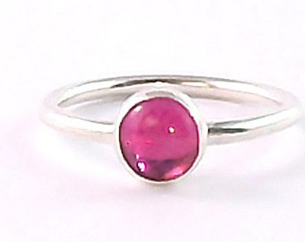 Ruby Cabochon Sterling Silver Stacking Ring