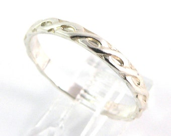 Patterned Braided Sterling Silver Stacking Ring