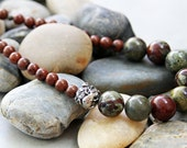 Little Lizard - Bloodstone and Jasper Necklace with Green Girl Gecko Feature