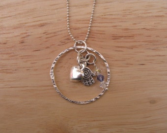 Hamsa Necklace, Charm Necklace, Heart Charm, Sterling Silver Eternity Circle with Charms and Crystal, Silver Heart Charm