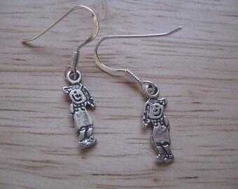 Girl Charm Earrings, Child Charm Earrings, Silver Cute Girls Charm Earrings, Sterling Silver Children Charms, Dangle Earrings, Everyday