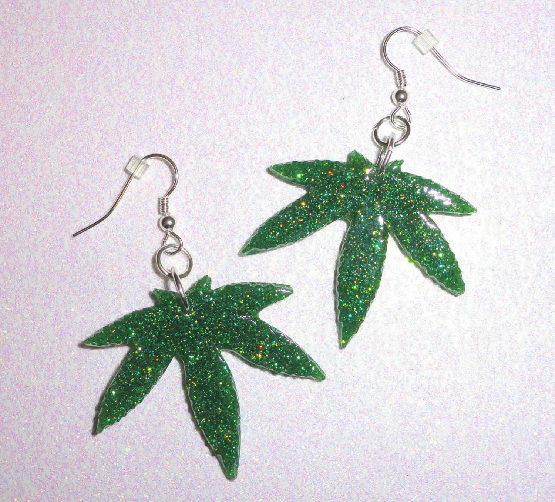 marijuana leaf earrings glitter resin size by thefunkyjunky