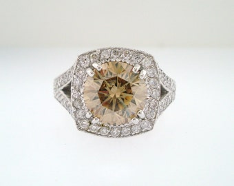3.32 Carat Fancy Champagne Brown Diamond Engagement Ring 18K White Gold Certified Handmade Unique Ring Pave Set
