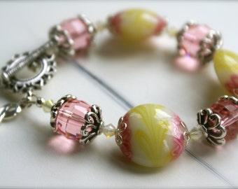 Swarovski Crystal Sterling Silver Breast Cancer Awareness Bracelet - Pink for the Cure