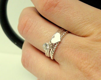 Heart ring and cubic zirconia Sterling silver stacking rings set stackable sterling silver ring heart stacking ring cubic zirconia ring
