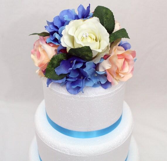 Custom Listing for carlymalcolm1 - Wedding Cake Topper, Pink, White Rose, Blue Hydrangea