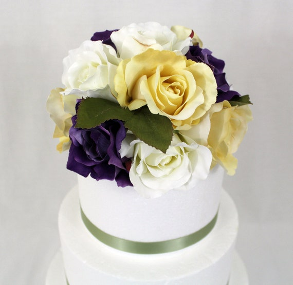 fake flower wedding cake toppers made to order silk flower wedding cake topper 8 inch 14117