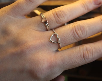 I HOLD you in my HEART forever. Mom, daughter or Big, small sisters rings. Handmade jewelry. Sterling silver, cooper. Adjustable or sized.