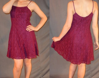 90s Grunge Maroon Lace Short Dress - Small Medium