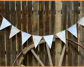 Peach and Powder Blue Bunting, Fabric Banner, Flags, Party Pennants, Reusable Party Decorations by InYourBones