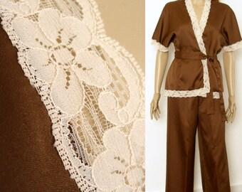 Vintage 1970s Wrap Pajamas Satin Like Dark Brown Pale Peach Lace Sleepwear / Small to Medium