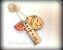 Mixed Metal Personalized Necklace NuGold Copper Open Heart