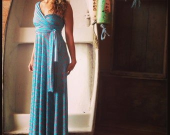Surf Indian Long Octopus Convertible Wrap Gown- Choose your Size and Length