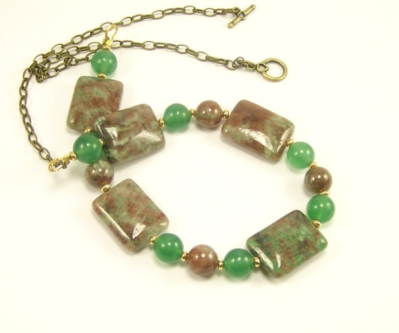 Kashgar Garnet Beaded Necklace Gemstone Jewelry, Statement Necklace, Green Necklace, Handmade Jewelry, Gemstone Jewelry, Beaded Jewelry