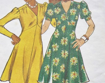 Vintage Butterick 3470, 70s Sewing Pattern, 70s Dress, Dress Sewing Pattern, Puff Sleeve Dress, Size 12 Bust 34 Small