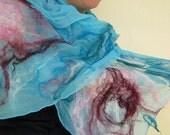 nuno felted scarf -waves-