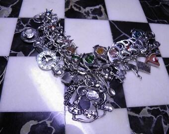 Alice in Wonderland Bracelet Loaded Charm Bracelet Teapots, Swarovski Crystals, Steampunk Jewelry Alice in Wonderland Jewelry Steampunk No.3