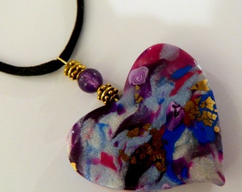 Heart Pendant Purple Heart Pendant Blue Heart Pendant Purple Heart Necklace Blue Heart Necklace Polymer Clay Pendant Valentine's Day Pendant