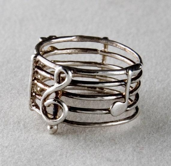 Sheet Music Sterling Silver Ring