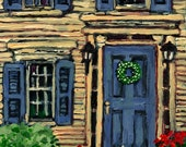 Acrylic Painting PRINT , Cat and Yellow House , Front Door, Flowers, Yellow, Blue, Home ,Pretty Picture, Fine Art, Patty Fleckenstein